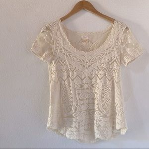 Anthro Meadow Rue Lace Short Sleeve Top XS